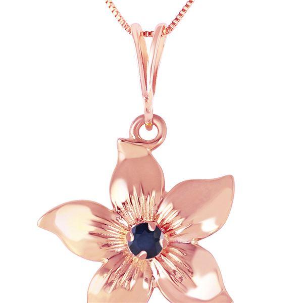 Genuine 0.10 CTW Sapphire Necklace 14KT Rose Gold - REF-38F6Z