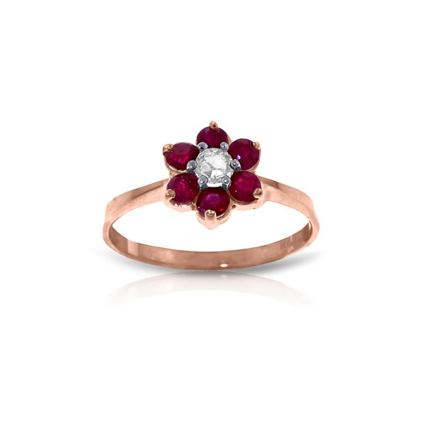 Genuine 0.50 ctw Ruby & Diamond Ring 14KT Rose Gold - REF-42A2K