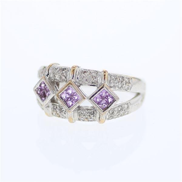 Natural 0.71 CTW Pink Sapphire & Diamond Ring 14K White Gold - REF-69K3R