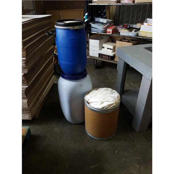 2 Plastic barrels and cardboard barrel with bags