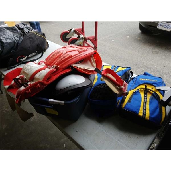 Tote of motocross, and sports pads with swim fins