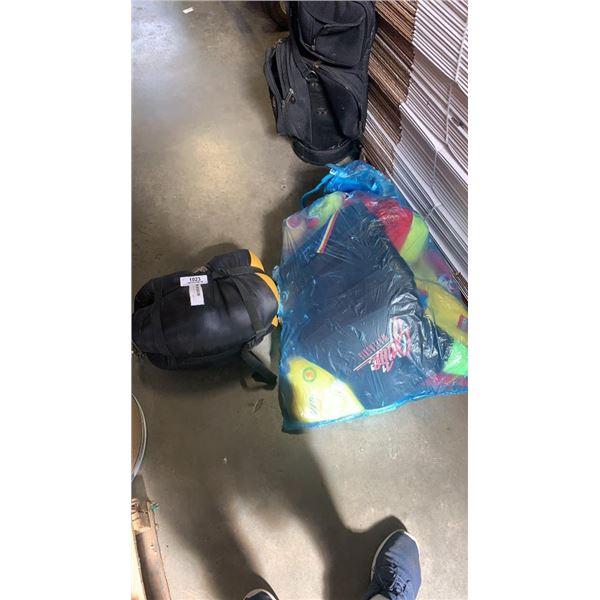 LOT OF LIFE JACKETS AND SLEEPING BAG