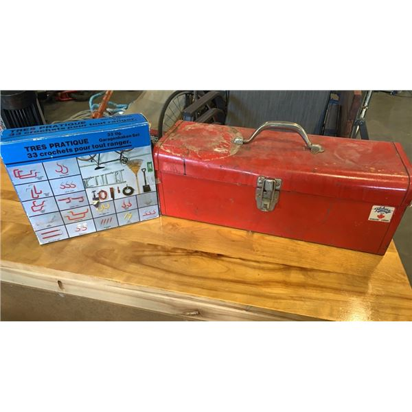 RED TOOLBOX WITH CONTENTS AND BOX OF WALL HANGER HOOKS
