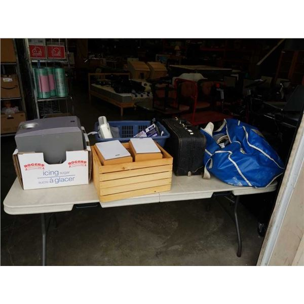 LOT OF SPEAKERS, VINTAGE LEATHER CASE, ESTATE GOODS AND HOCKEY GEAR