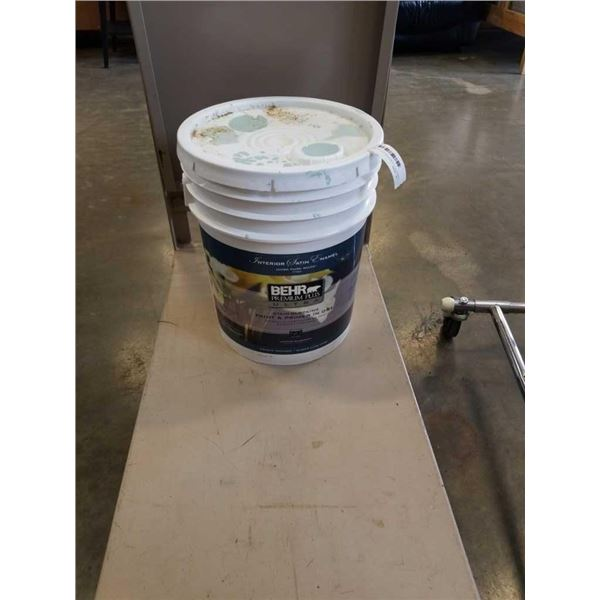 LARGE PAIL OF BEHR PREMIUM PLUS ULTRA STAIN BLOCKING PAINT AND PRIMER IN ONE - TINTED