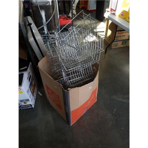 Box of wire hook on shelf baskets