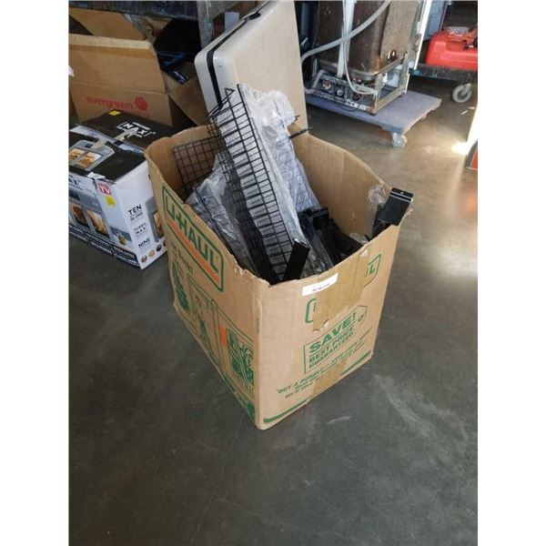 Box of shelving brackets and wire baskets