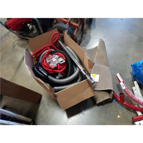 Box of central vacuum hose, expandable hose and small rug - store returns