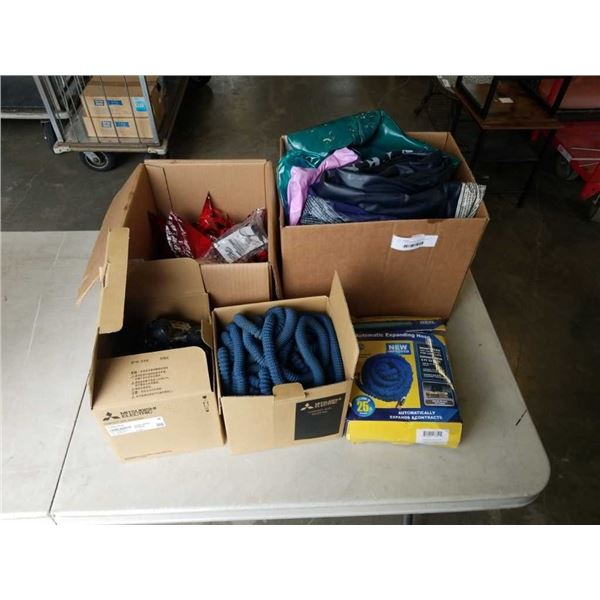 LOT OF GARDEN HOSES, KIDS TOYS AND INFLATEABLE