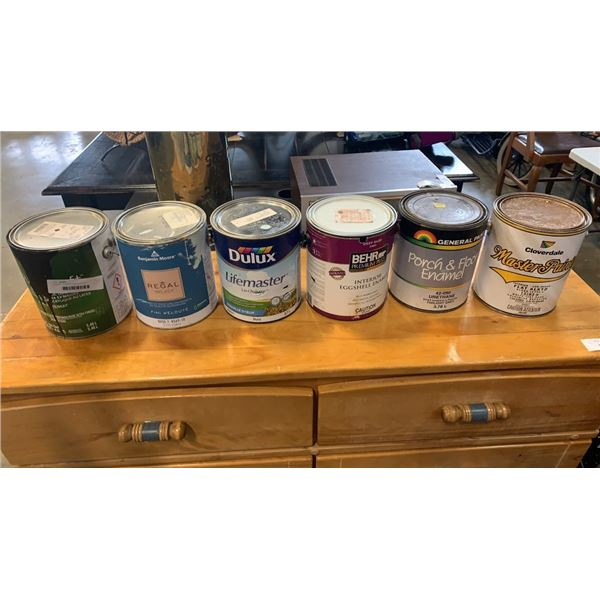 6 gallons of various paint and primer