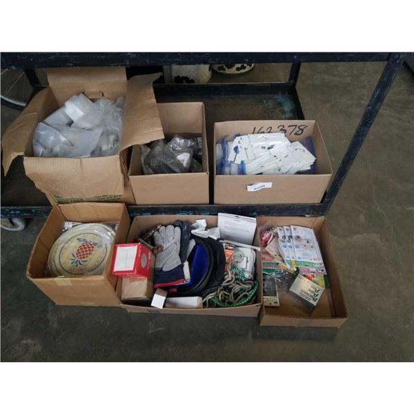 5 BOXES OF SHOP SUPPLIES, PARTS, GLOVES, ESTATE GOODS