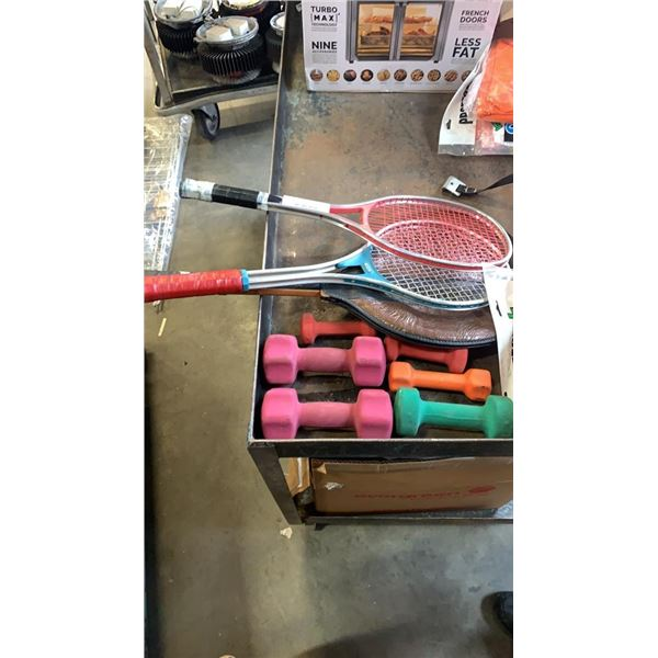 Lot of racquets and weights