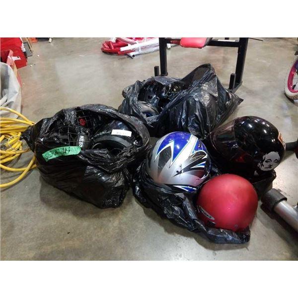 Lot of hockey helmets, motorcycle helmets, bike helmets and more