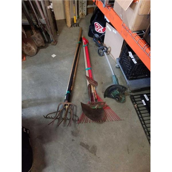 2 bundles of garden tools and electric weed eater