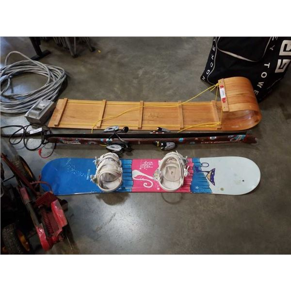 Torpedo wooden sled with child size snow board and skis