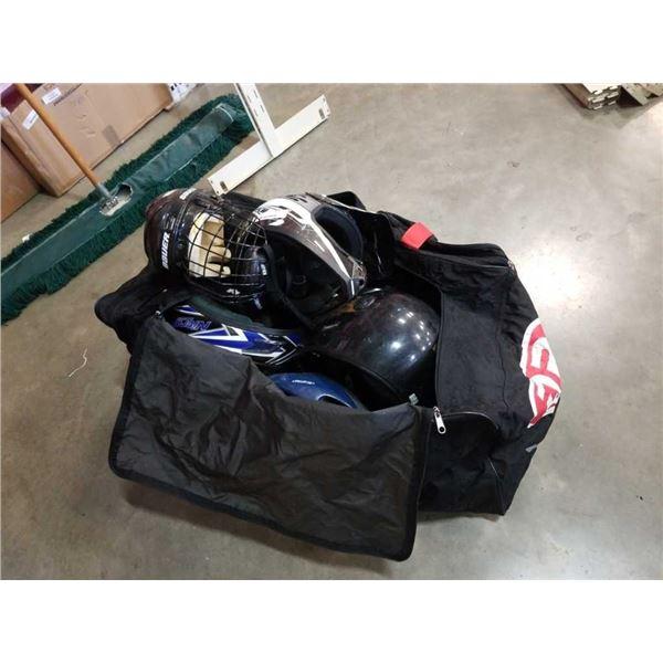 Hockey bag of various helmets