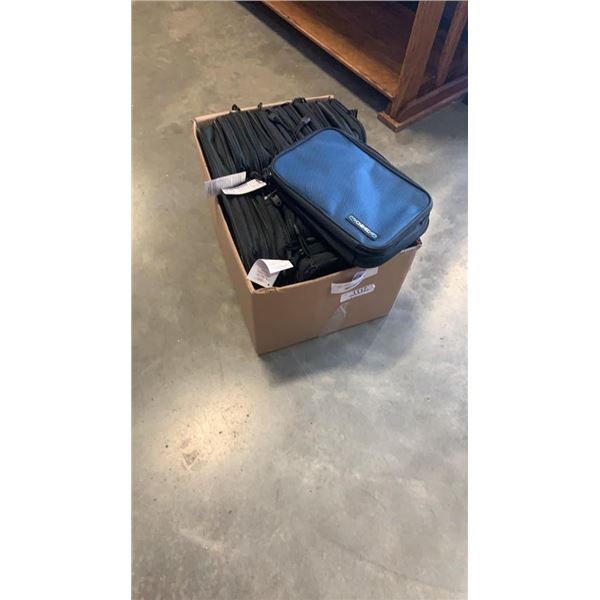 BOX OF ZIPPERED TRAVEL BAGS