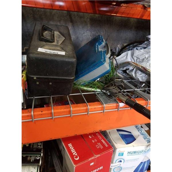 2 tackle boxes with contents with net and fish finder
