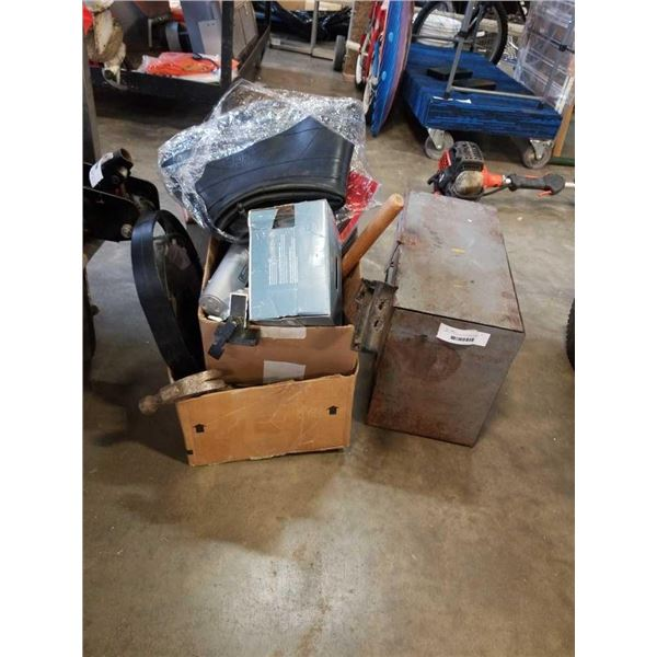 METAL TOOLBOX WITH CONTENTS AND BOX OF CAULKING GUNS AND CLAMPS