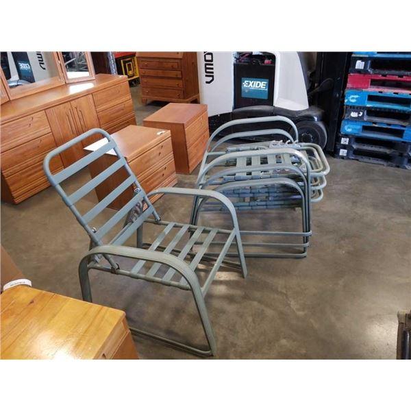 4 metal patio loungers