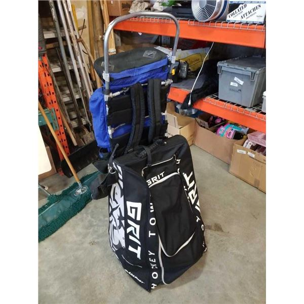 Stand up grit bag of rollerblades and jansport hiking backpack