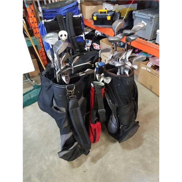 3 bags of various golf clubs