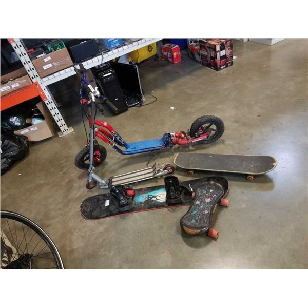 2 scooters with 2 skateboards and snowboard