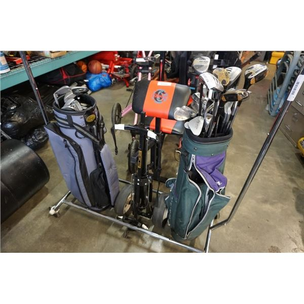 2 BAGS OF GOLF CLUBS AND GOLF BAG CART