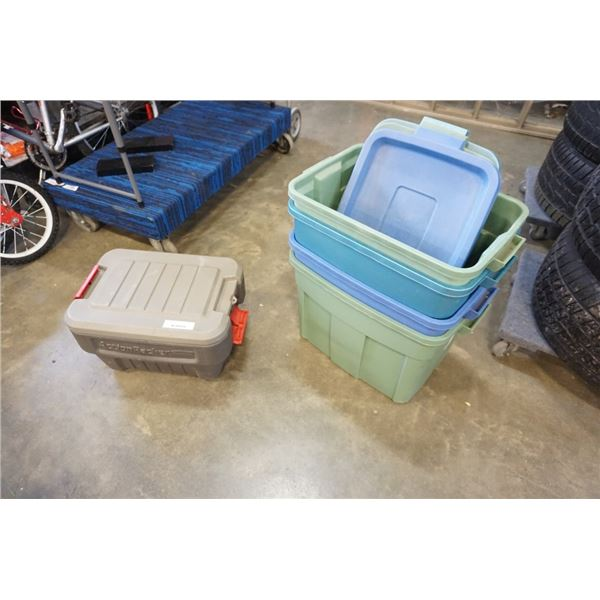 Lot of storage totes with action packer storage with contents