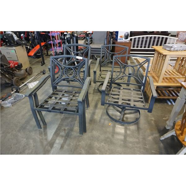 6 METAL PATIO CHAIRS - 2 ARE SWIVEL