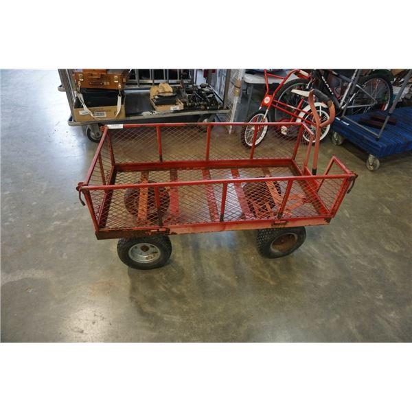 Large metal cage garden wagon