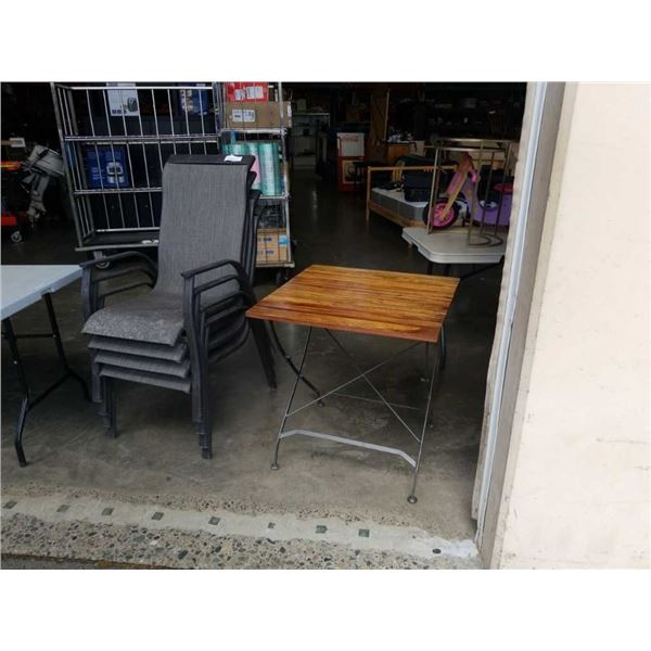 4 STACKING PATIO CHAIRS AND FOLDING PATIO TABLE