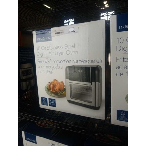 AS NEW INSIGNIA 10QT STAINLESS STEEL DIGITAL AIR FRYER