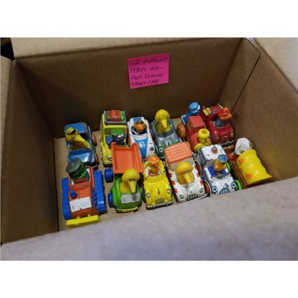 "12 DIFFERENT 1980S DIE-CAST ""SESAME STREET"" CARS"