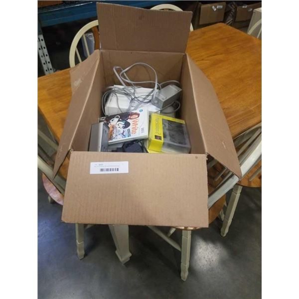 Box of Nintendo Wii and PlayStation two consoles and accessories