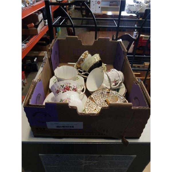 8 china cups and saucers: Royal albert, Royal Kendall, Tassel, and more