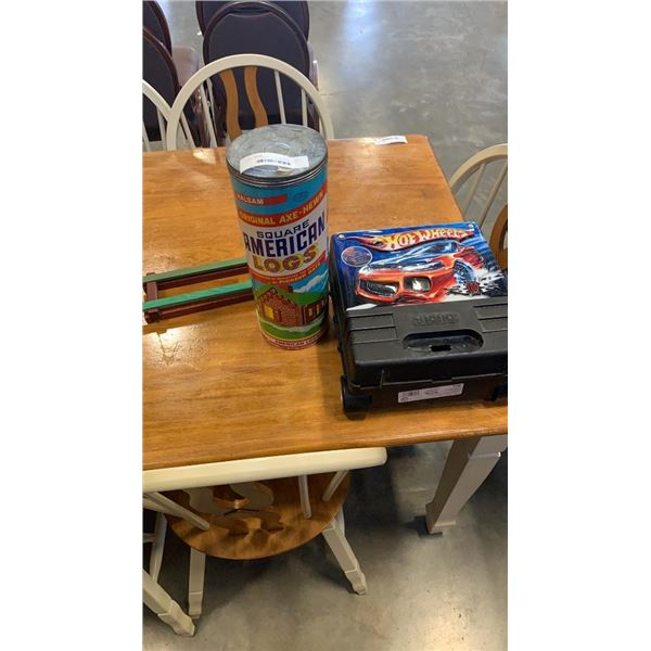 TIN OF HALSAM SQUARE AMERICAN LOGS AND HOTWHEELS CAR CASE