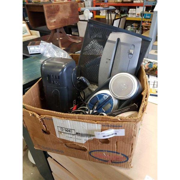 BOX OF ELECTRONICS, RADIOS, PAPER SHREDDER