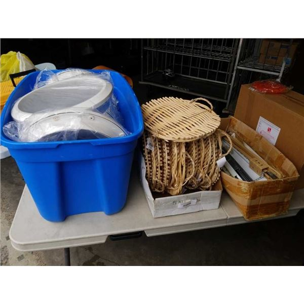 TOTE OF LIGHT COVERS, WICKER TRAYS AND BOX OF DOOR SLIDERS
