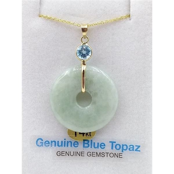 14KT YELLOW GOLD JADE DONUT AND BLUE TOPAZ PENDANT W/ APPRAISAL $1915