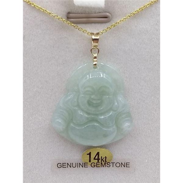 14KT YELLOW GOLD JADEITE BUDDHA PENDANT W/ GOLD PLATED SILVER CHAIN W/ APPRAISAL $1850