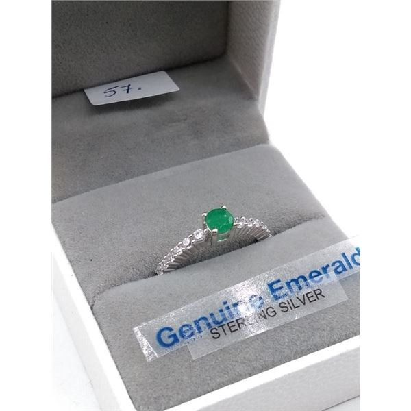 STERLING SILVER GENUINE EMERALD AND CZ BAND W/ APPRAISAL $685