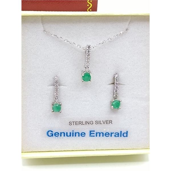 STERLING SILVER EARRINGS AND PENDANT SET W/ GENUINE EMERALD, ACCENTED CZ, AND CHAIN W/ APPRAISAL $81