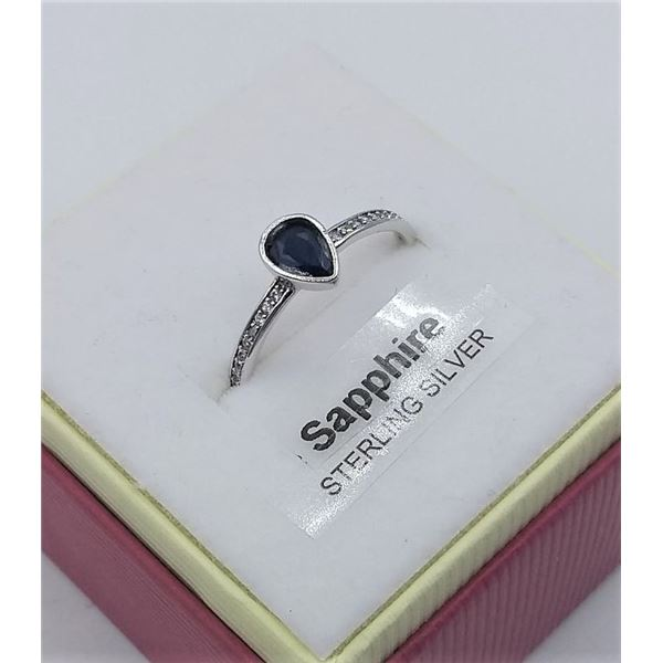 STERLING SILVER SAPPHIRE AND CZ RING W/ APPRAISAL $525