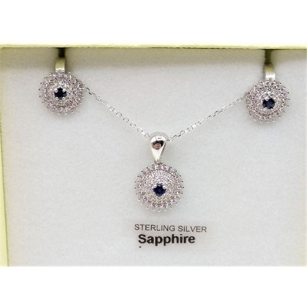 """STERLING SILVER EARRINGS AND PEDANT SET W/ GENUINE SAPPHIRE, CZ, AND 16"""" CHAIN W/ APPRAISAL $965"""