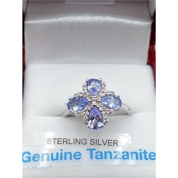 STERLING SILVER GENUINE TANZANITE RING RETAIL $550