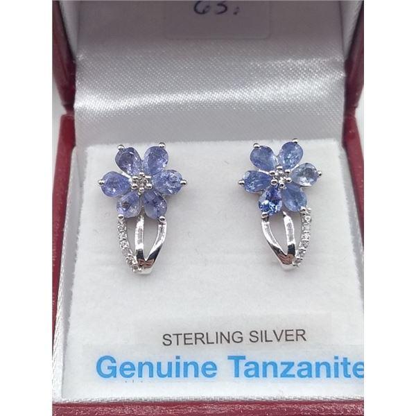 STERLING SILVER FLOWER DESIGN TANZANITE EARRINGS W/ APPRAISAL $920