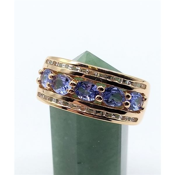 STERLING SILVER ROSE GOLD PLATED RING SET W/ 5 TANZANITE AND TOPAZ W/ APPRAISAL $1240
