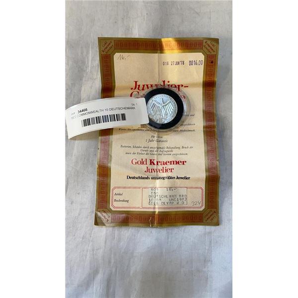 1972 COMMONWEALTH 10 DEUTSCHEMARK COIN WITH CERTIFICATE