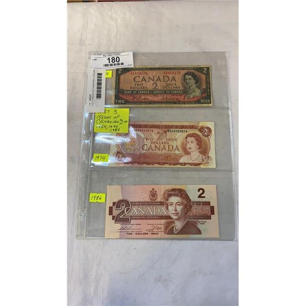 LAST 3 ISSUES OF CANADIAN 2 DOLLAR BILLS 1954, 1974, 1986